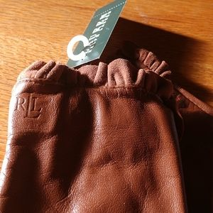 Cpy💋NWT🦌Ralph Lauren LEATHER SUEDE Ruffle Gloves